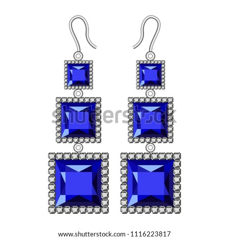 Sapphire earrings mockup. Realistic illustration of sapphire earrings vector mockup for web design isolated on white background