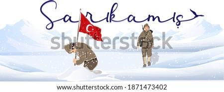 Sarıkamış harekatı ve Türk Bayrağı taşıyan kahraman Türk Askeri. Turkish soldiers walking at Sarikamis Allahuekber Mountains Stok fotoğraf ©