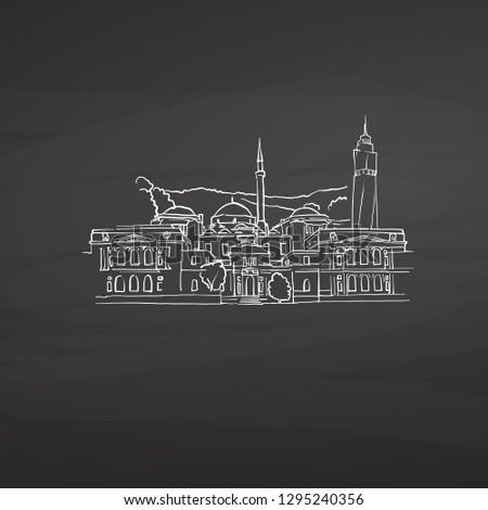 Sarajevo Bosnia signs on blackboard. Digital chalk drawn vector sketch on blackboard. European capitals destinations.