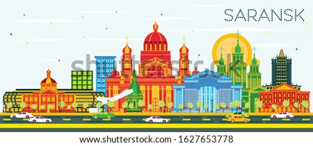 Saransk Russia City Skyline with Color Buildings and Blue Sky. Vector Illustration. Business Travel and Tourism Concept with Modern Architecture. Saransk Cityscape with Landmarks.