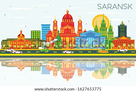 Saransk Russia City Skyline with Color Buildings, Blue Sky and Reflections. Vector Illustration. Business Travel and Tourism Concept with Modern Architecture. Saransk Cityscape with Landmarks.