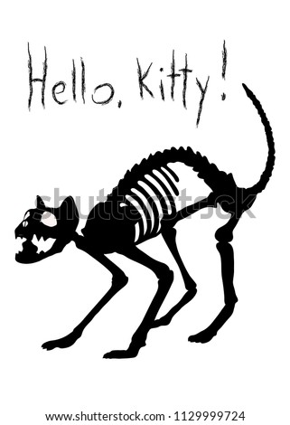Stock Photo Sarcastic vector illustration. Hello, Kitty! The silhuette of  black cat's skeleton in agressive pose.