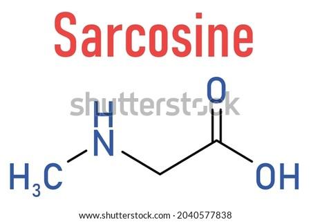 Sarcosine (N-methylglycine) molecule. Skeletal formula. Foto stock ©