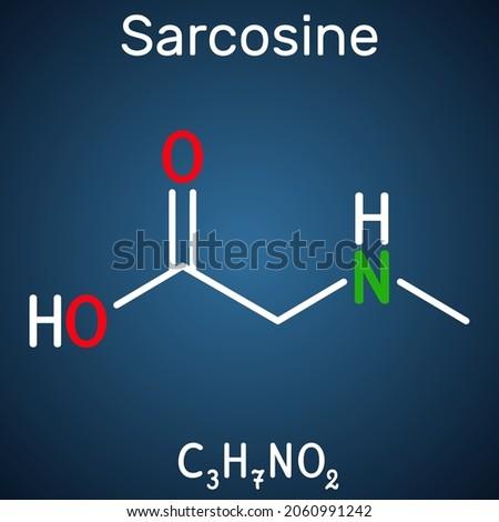 Sarcosine, N-methylglycine, N-alkylglycine molecule. It is amino acid derivative, conjugate acid of sarcosinate. Structural chemical formula on the dark blue background. Vector illustration Foto stock ©