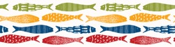 Sardine shoal of fish seamless vector border pattern of grilled fishes. Lisbon St Antonio traditional portugese food festival. June Portugal street party. Atlantic ocean animal ribbon, fishing banner.