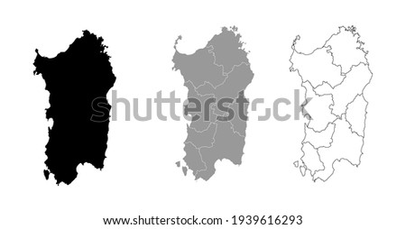 Sardinia Italy Map Black Silhouette and Outline With Regions Border Vector Stockfoto ©