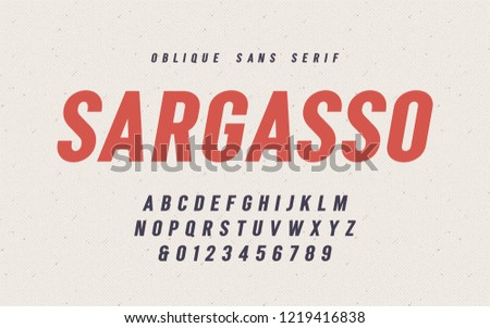 Sargasso oblique san serif vector font, alphabet, typeface, uppercase letters and numbers. Global swatches.
