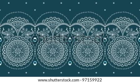 sari border with peacock design