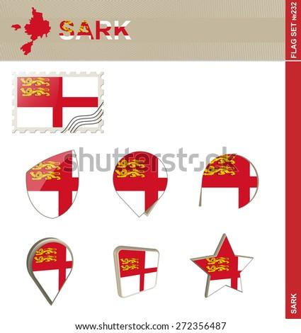 Sark Flag Set, Flag Set #232. Vector.