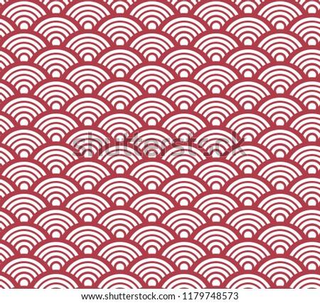Sashiko Traditional Japanese Wave Seamless Pattern Red. Vector.