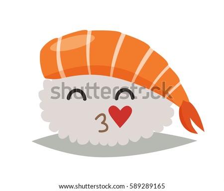 sashimi  in love emoji vector