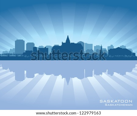 Saskatoon, Canada skyline with reflection in water