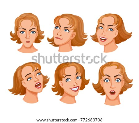 Sat of cartoon young women face expresses emotions. Different expressions of female faces. Facial expressions with offense, amazement, humor, cunning, love and romance, fun. The girl sings a song