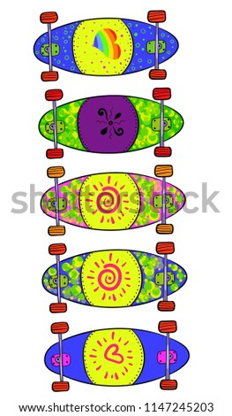 sat of longboards with a