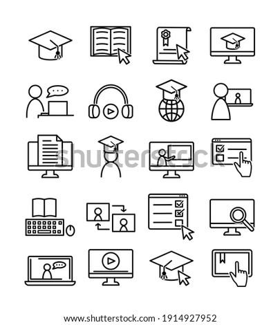 Sat of online education icons. Pictograms for web. Line stroke. Isolated on white background. Vector eps10. Online seminar, training. Zdjęcia stock ©