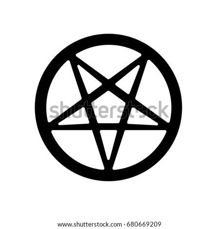 Satanic Pentagram Symbol Icon. Vector.