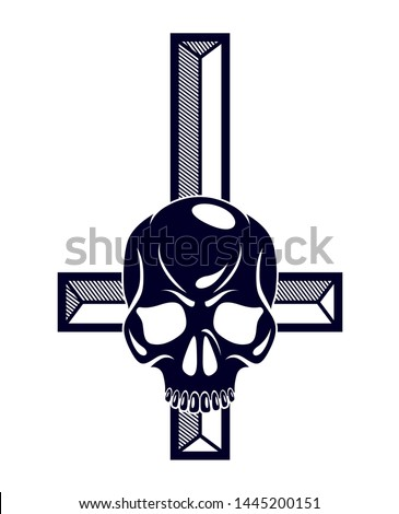 Satanic symbol with inverted skull dead aggressive head of Satan Devil Evil.