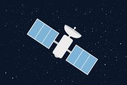 Satelitte in space - scientific and technologic device and equipment on orbit. Technology of cosmonautics, astonautics and aeronautics. Vector illustration