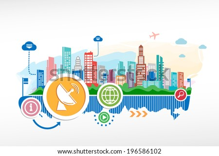 Satellite antenna and cityscape background with different icon and elements. Design for the print, advertising.