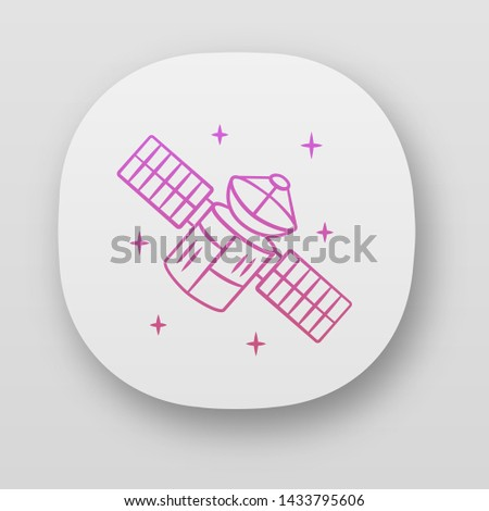 Satellite app icon. Sputnik. Artificial object in orbit. Earth observation. Space telescope. GPS navigation. UI/UX user interface. Web or mobile applications. Vector isolated illustrations