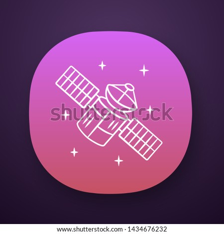 Satellite app icon. Sputnik. Artificial object in orbit. Space probe. Space telescope. GPS navigation. UI/UX user interface. Web or mobile application. Vector isolated illustration