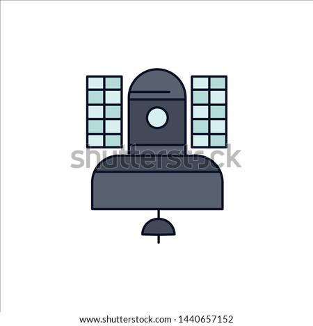 Satellite, broadcast, broadcasting, communication, telecommunication Flat Color Icon Vector