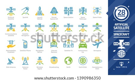 Satellite color icon set with sputnik, launch vehicle, human spacecraft, space station, telescope & probe, nanosatellite or cubesat, phone & navigation device, internet receiver glyph sign.