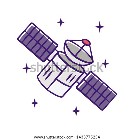 Satellite color icon. Sputnik. Artificial object in orbit. Space probe. Military and civilian Earth observation. Space telescope. GPS navigation. Isolated vector illustration