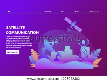 Satellite communication.Wireless technology.Landscape Urban. Landing page template.Flat vector.Artificial satellite