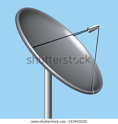 satellite dish over blue background, abstract vector art illustration