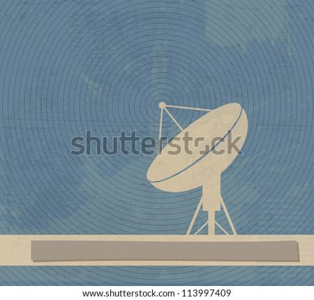 Satellite Dish. Retro poster - stock vector