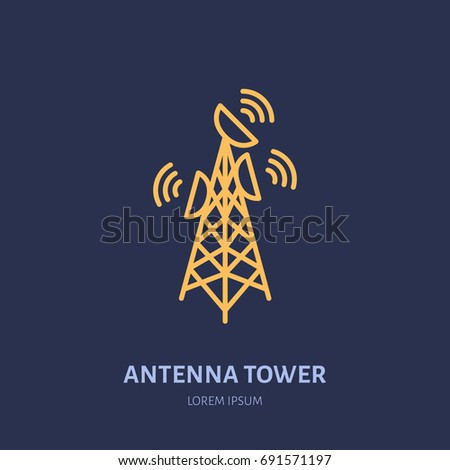 Satellite dish tower flat line icon. Wireless technology, wifi signal sign. Vector illustration of internet connection.