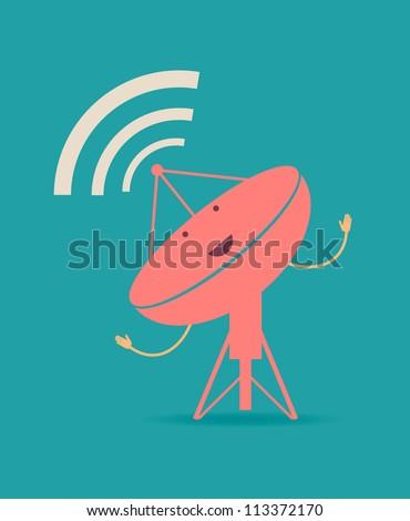 Satellite dishes antena. Retro poster