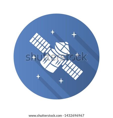 Satellite flat design long shadow glyph icon. Sputnik. Artificial object in orbit. Space probe. Earth observation. Space telescope. GPS navigation. Vector silhouette illustration