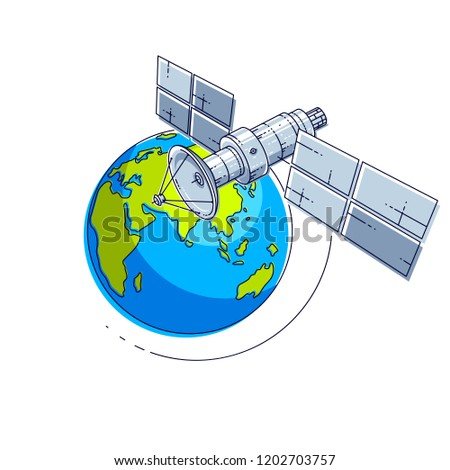 Satellite flying orbital flight around earth, communication technology spacecraft space station with solar panels and satellite antenna plate. Thin line 3d vector illustration.