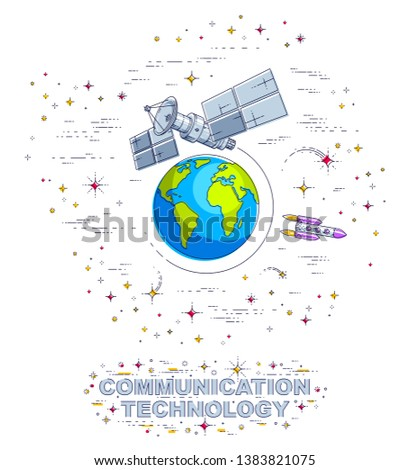Satellite flying orbital flight around earth, communication technology spacecraft space station with solar panels and satellite antenna plate, surrounded by stars and other elements. Vector.