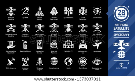 Satellite glyph icon set on a black background with communications, navigation, observation, scientific, weather, military and spy spacecraft, sputnik, launch vehicle, space station silhouette sign.