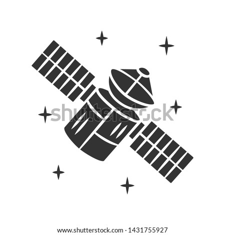 Satellite glyph icon. Sputnik. Artificial object in orbit. Space probe. Earth observation. Space telescope. GPS navigation. Silhouette symbol. Negative space. Vector isolated illustration