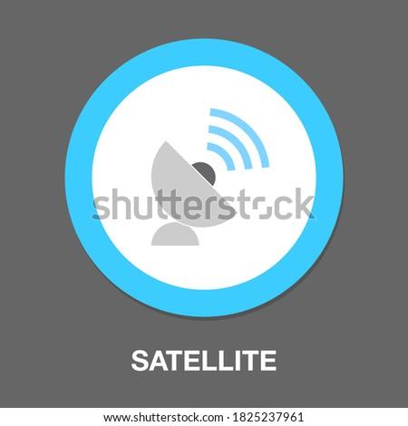 satellite icon - satellite dish isolated, wireless internet satellite illustration - satellite technology Vector