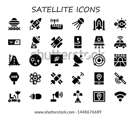 satellite icon set. 30 filled satellite icons.  Collection Of - Ancient aliens, Rocket, Wifi, Sputnik, Spaceship, Solar system, Satellite, Gps, Space capsule, Autonomous car, Parabola
