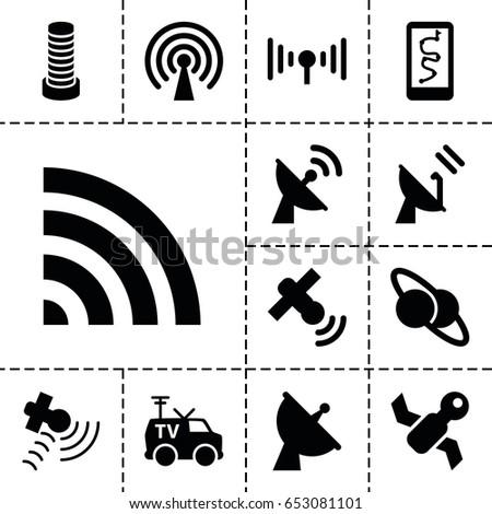 satellite icon set of 13