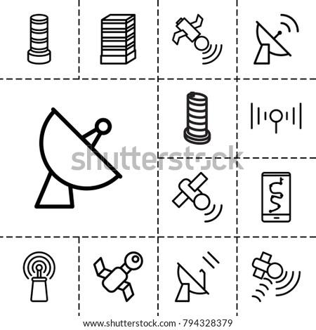satellite icons set of 13
