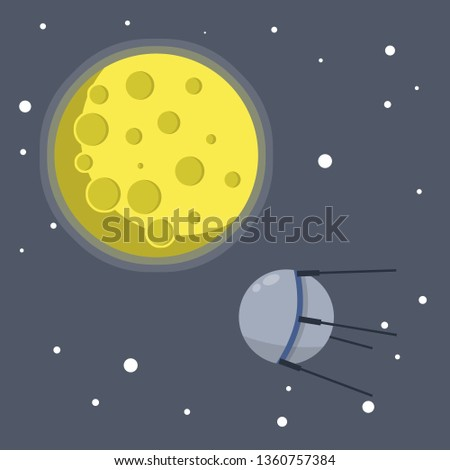 Satellite in space orbiting the earth. Soviet Sputnik fly around planet. Moon and milky way. Exploration of universe and galaxy. first flight into space. Modern technology. Cartoon flat illustration
