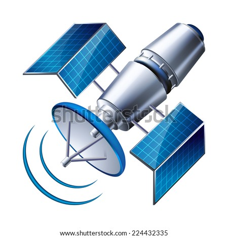 satellite isolated on white background. vector illustration