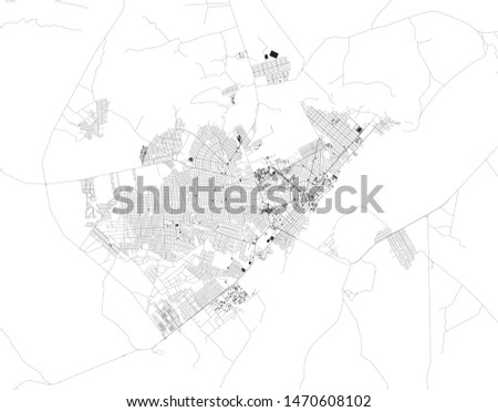 Satellite map of Boa Vista, Roraima, Brazil. Map of streets and buildings of the town center. South America