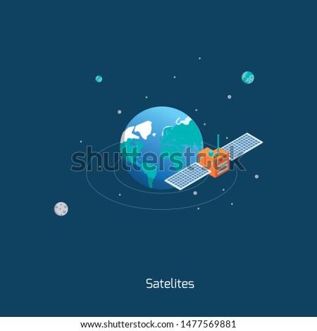 Satellite on the orbit. Concept vector illustration.