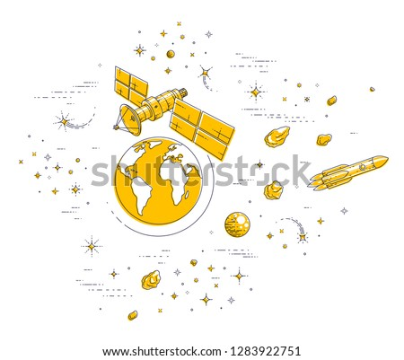 Satellite orbiting around earth, spaceflight, communication spacecraft space station with solar panels and satellite antenna plate, with rockets, stars and other elements. Vector.
