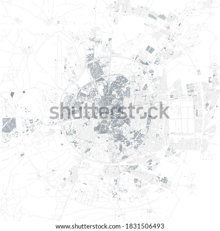 Satellite view of Erbil or Hawler the capital and most populated city in the Kurdistan Region in northern Iraq. Map streets and buildings of the city