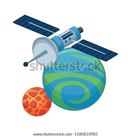 satellite with space planet icon over white background, vector illustration