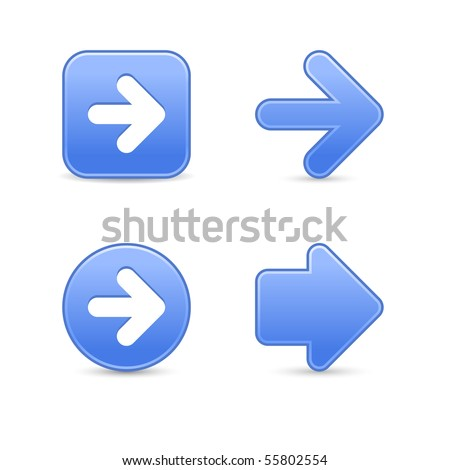 Satin blue arrow symbol web 2.0 buttons with shadow on white background